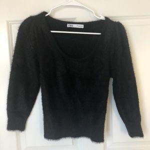 Black Fuzzy Zara  Sweater